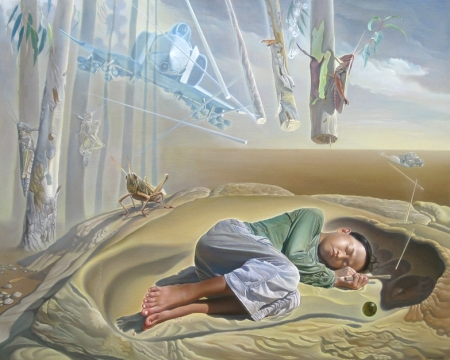 Nguyễn Đình Đăng, Những con châu chấu voi bị quên lãng, 2010, sơn dầu, 130 x 162 cm