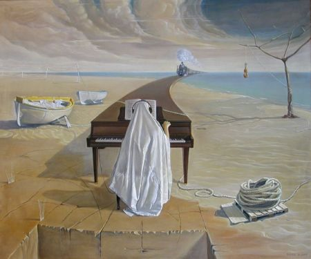"""Nguyễn Đình Đăng, """"Piano câm"""",  sơn dầu 60.5 x 72.5 cm, 2001"""