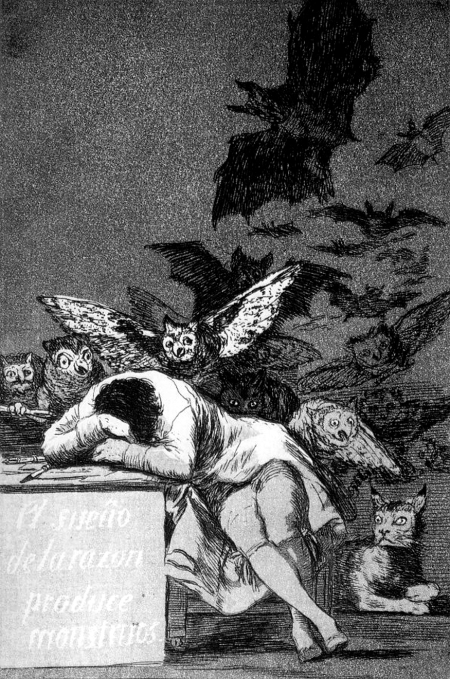 Francisco Goya Giấc mơ của lý trí sinh ra các quái vật (1799) khắc acid, 21.5 x 15 cm