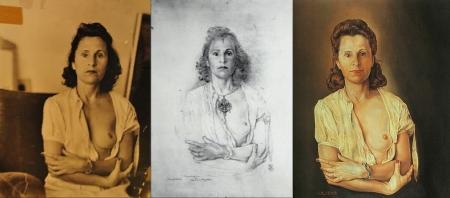 """Từ trái: ảnh Man Ray chụp Gala, phác thảo chì từ ảnh, và bức sơn dầu """"Galarina"""" (1945, 64.1 x 50.2 cm) của Salvador Dalí"""