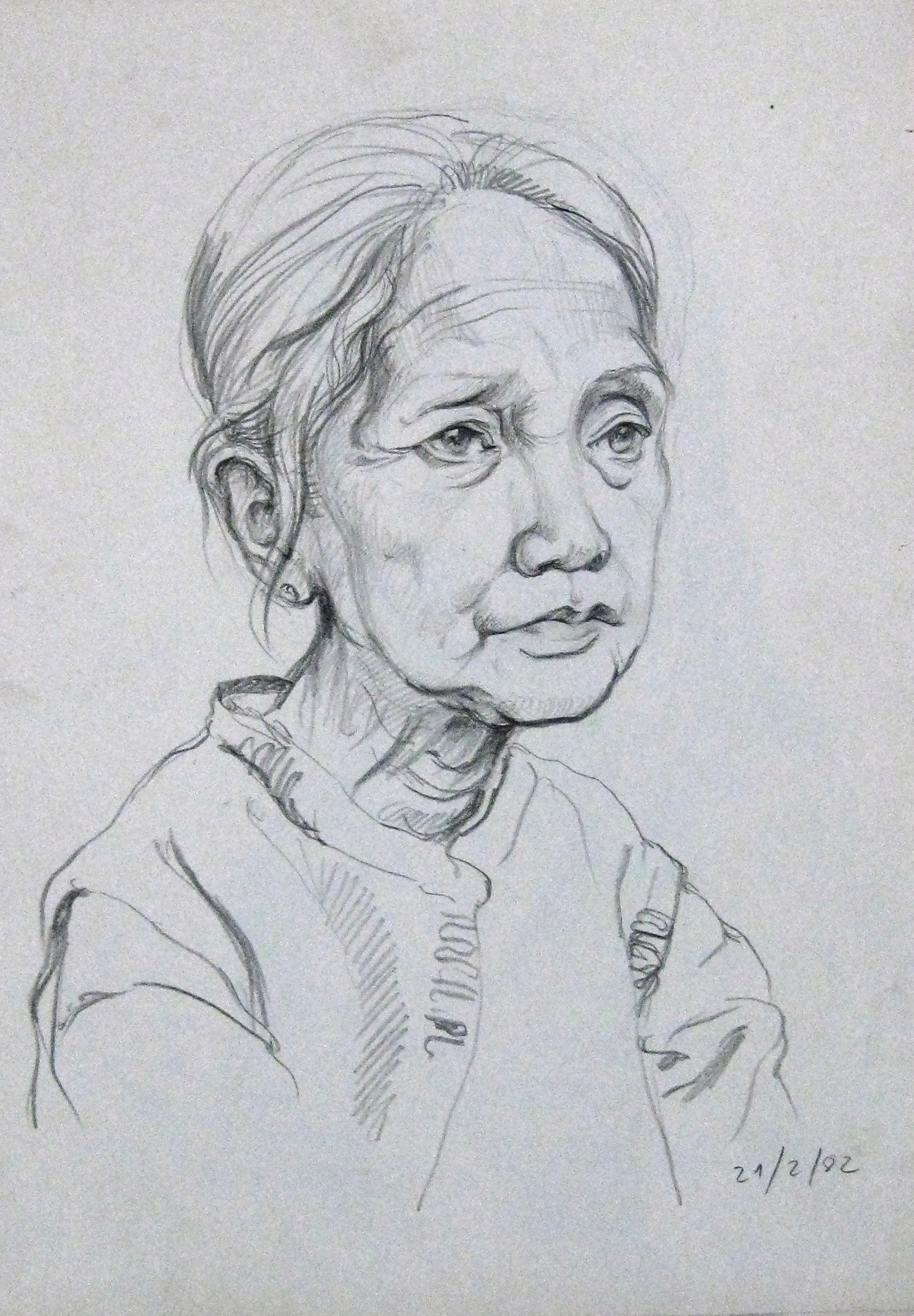 Chân dung bà Tăng Ngọc Loan (1982) ký họa chì