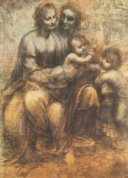 Leonardo da Vinci, Đức Mẹ Đồng Trinh, Chúa Hài Đồng với Thánh Anne và John Baptist (1499 - 1500) than, phấn trắng trên giấy dán trên canvas