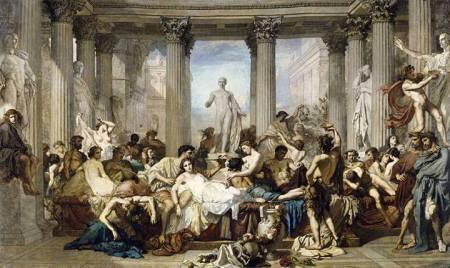 Thomas Couture, Những người La Mã ở Mạt kỳ của Đế Chế, 1847  sơn dầu trên canvas, 472 x 772 cm  Bảo tàng Orsay