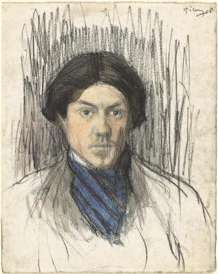 Pablo Picasso Tự hoạ (1901/1902) phấn đen và màu nước trên giấy màu  30.4 x 23.8 cm