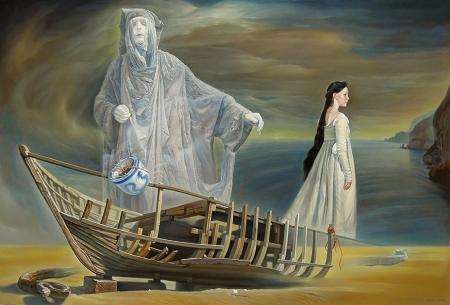 Nguyễn Đình Đăng  Hương thừa / Remaining incense aroma (2014)  sơn dầu trên linen canvas, 130 x 194 cm