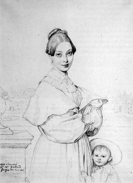 Jean-Auguset Dominique Ingres Chân dung vợ ông Victor Baltard và con gái họ Paule (1836)