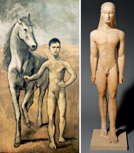 Trái: Pablo Picasso, Cậu bé dắt ngựa (1906), sơn dầu trên canvas, 220.3 x 130.6 cm. Phải: Tượng một kouros, kh. 590 - 580 tr CN, đá cẩm thạch, cao 193.04 cm.