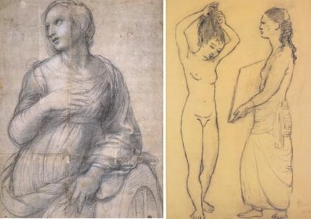"Trái: Raphael,  Dessin chuẩn bị cho bức Thánh Catherine (kh. 1507, 24 tuổi) Phải: Pablo Picasso, Dessin chuẩn bị cho bức ""Trang điểm"" (1906, 25 tuổi)"