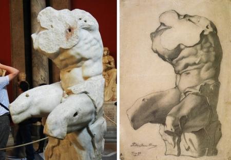 Trái: Belvedere Torso tại Bảo tàng Vatican. Phải: Pablo Picasso, Hình hoạ nghiên cứu Belvedere Torso (1892 - 1893),  than và chì Conté trên giấy, 52.4 x 36.7 cm