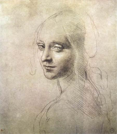 Leonardo Da Vinci, Dessin nghiên cứu đầu của thiên thần cho bức hoạ Đức Mẹ trước núi đá (1483) silverpoint trên giấy nâu nhạt