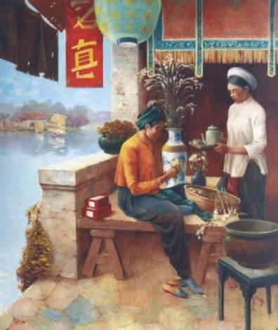Albert Cézard Uống trà sơn dầu trên canvas, 210 x 180 cm