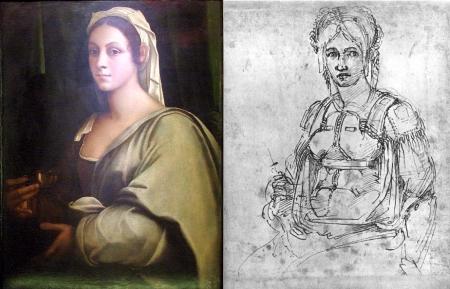 Chân dung Vittoria Colonna do Sebastiano del Piombo vẽ năm 1520 (trái) và Michelangelo vẽ khoảng năm 1540 (phải)