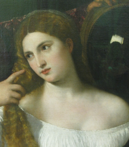 """Titian Trích đoạn bức """"Người phụ nữ soi gương"""""""