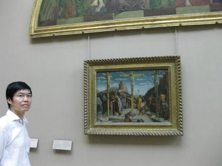 """Bên bức """"Đóng đinh câu rút"""" (1457 - 1459) của Mantegna  sưn dầu trên ván gỗ, 67 x 93 cm"""