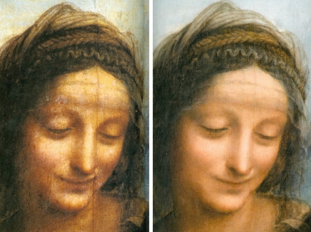 Mặt của Thánh Anne trước (trái) và sau (phải) khi tẩy rửa