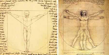 Trái: Người Vitruvian của Giacomo Andrea de Ferrara (1490). Phải: Người Vitruvuan của Leonardo Da Vinci (1490)