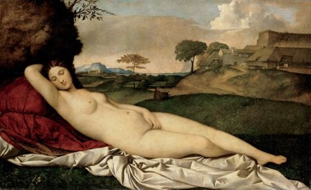Giorgione, Vệ Nữ ngủ (kh. 1510), sơn dầu trên canvas, 108.5 x 175 cm