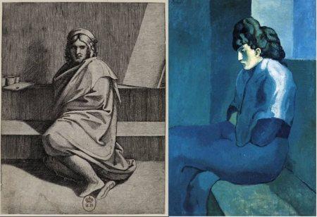 Trái: Marcantonio Raimondi (kh. 1480 - kh. 1534), Chân dung Raphael (kh. 1510 - 1530).  Phải: Pablo Picasso, Người đàn bà dưới ánh trăng (1901)