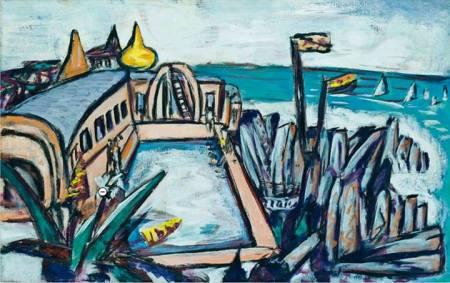 Max Beckmann Bể bơi, Cap-Martin (1944) sơn dầu trên canvas