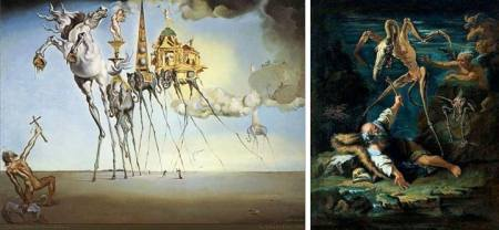Trái: Salvador Dalí (1904 - 1989), Sự quyến rũ thánh Antony (1948).  Phải: Salvator Rosa (1615 - 1673), Sự quyến rũ thánh Antony (1645)