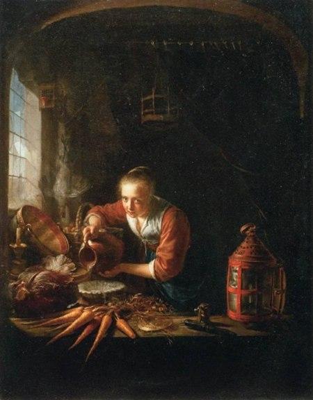 Gerrit Dou Người đàn bà rót nước vào bình (kh. 1640) sơn dầu trên ván gỗ, 36 x 27 cm