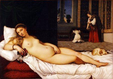 Titian, Vệ Nữ Urbino (1538), sơn dầu trên canvas, 119.2 x 165.5 cm