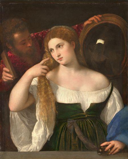 Titian Người phụ nữ với chiếc gương (~ 1515) sơn dầu trên canvas, 99 x 76 cm, Louvre