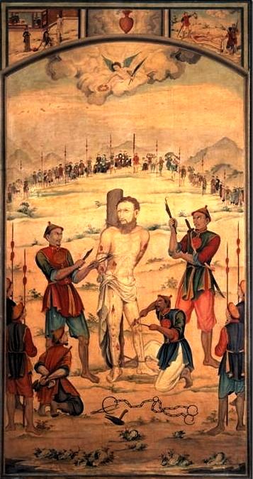 Bức hoạ 2 Cuộc tử vì đạo của cha Marchand Du tại Huế ngày 30.11.1835 150 x 83.6 cm