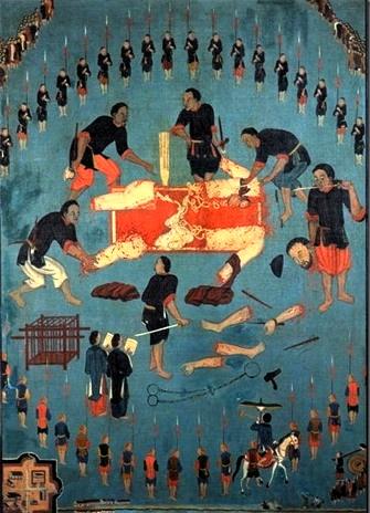 Bức hoạ 3 Cuộc tử vì đạo của cha Jean-Charles Cornay Tân tại xứ Đoài (tức Sơn Tây) ngày 20.09.1837 166 x 121.3 cm