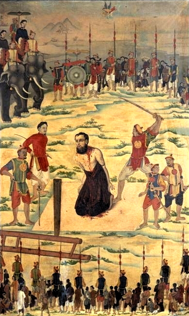 Bức hoạ 8 Cuộc tử vì đạo của giám mục Pierre Dumoulin-Borie Cao ngày 24.11.1838 tại Đồng Hới 169 x 107.4 cm