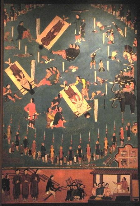Bức hoạ 9 Cuộc tử vì đạo của các cha Paul Nguyễn Văn Mĩ, Pierre Trương Văn Đường, và Pierre Vũ Văn Truật tại Sơn Tây ngày 18.10.1838 168 x 121.8 cm