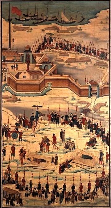 Bức hoạ 11 Cuộc tử vì đạo của ông Antoine Nguyễn Hữu Quỳnh và thầy Pierre Nguyễn Khắc Tự tại Quảng Bình ngày 10.07.1840 171 x 94.7 cm