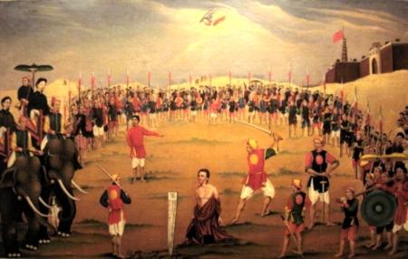 Bức hoạ 13 Cuộc tử vì đạo của cha Augustin Schoeffler Đông tại Sơn Tây ngày 1.05.1851 89 x 129.5 xm