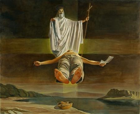 Nguyễn Đình Đăng Sự ra đời của chữ quốc ngữ - Cái chết siêu việt của ông Nguyễn Văn Vĩnh (2001) sơn dầu, 65 x 80 cm