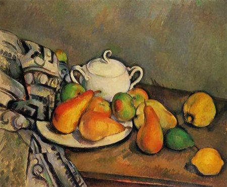 Paul Cézanne, Lọ đường. các quả lê và khăn trải bàn (1893 - 1894), sơn dẩu, Bảo tàng mỹ thuật Pola ờ Hakone