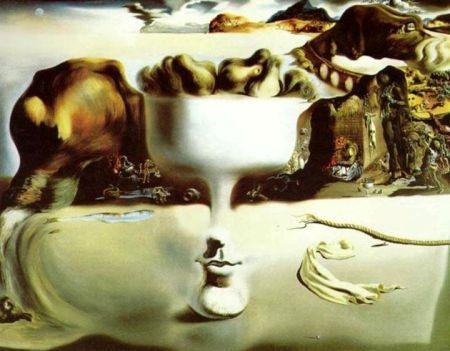 Salvador Dalí, Sự xuất hiện của khuôn mặt và bát trái cây trên bãi biển (1938), sơn dầu trên canvas, 114.8 x 143.8 cm