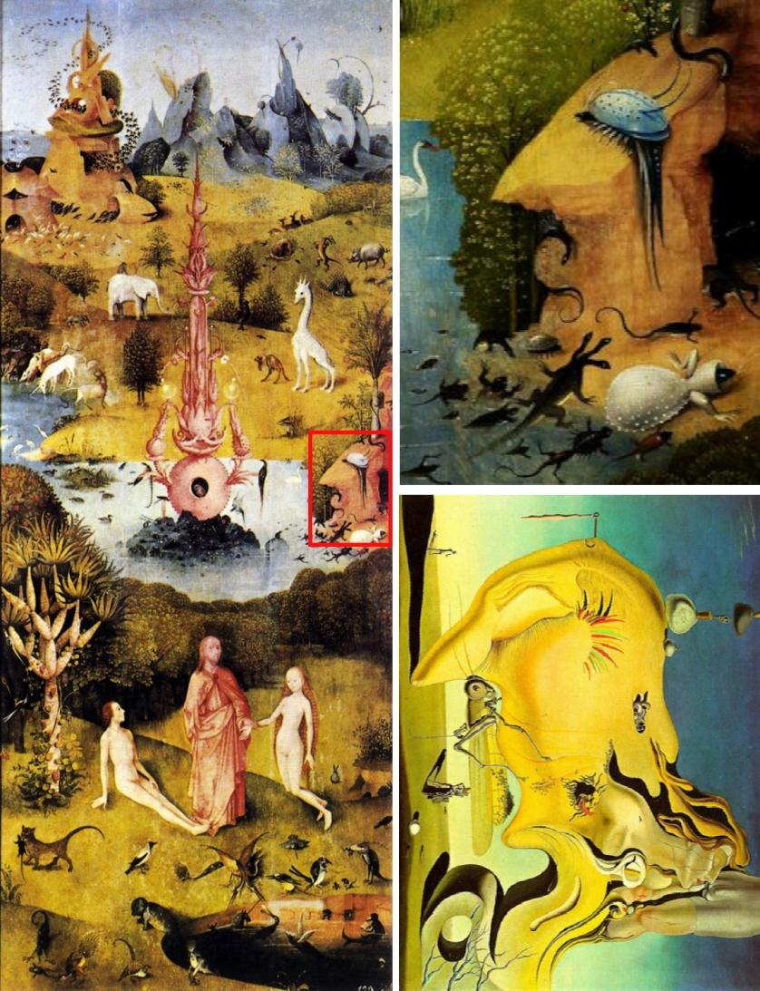 """Trái: Bức bên trái trong bộ tam bình """"Vườn của các các khoái lạc"""" (1490-1510) của Hieronymus Bosch với chi tiết được đóng khung đỏ ở lề phải. Phải: phần đóng khung đỏ bên trái trong tranh của Bosch (trên) và bức """"Người xuất tinh vĩ đại"""" (được quay ̣90 độ) của Salvador Dalí (1929)"""