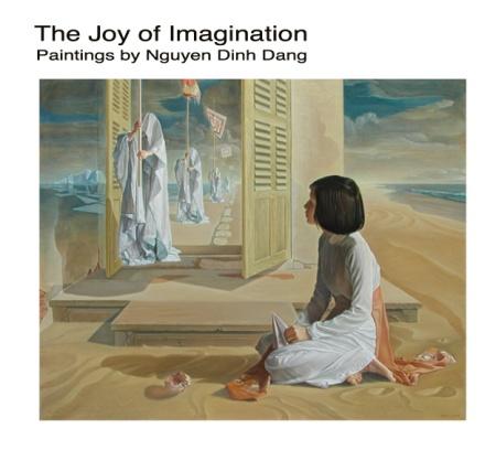 """Trang bìa cuốn """"Niềm sung sướng của trí tưởng tượng"""" với bức """"Ngưỡng cửa"""" của Nguyễn Đình Đăng"""