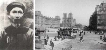 Trái: Hoạ sĩ Lê Văn Miến (1874 - 1943). Phải: Paris khoảng năm 1890