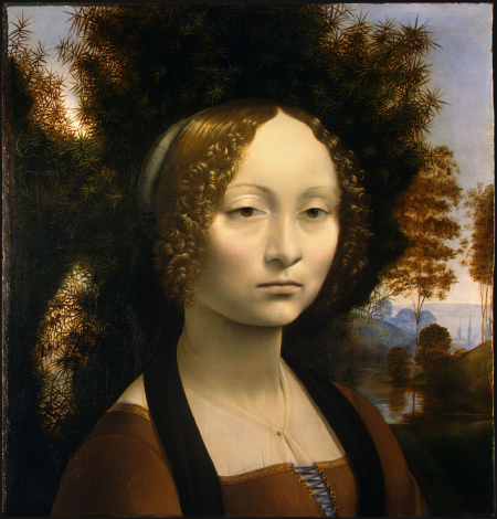 Viễn cận không khí. Leonardo Da Vinci, Leonardo Da Vinci Chân dung Giverna de Benci (kh. 1474 – 1478)