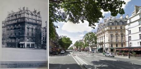 Nhà số 125 Đại lộ Montparnasse xưa (trái) và nay (phải)