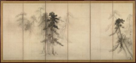 Viễn cận không khí. Hasegawa Tohaku, Tùng (1593)