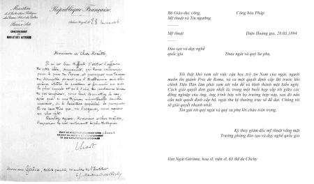 Thư Bộ Giáo dục công, Mỹ thuật và Tín ngưỡng ngày 28.3.1890 trả lời GS Jean-Léon Gérôme về Lê Văn Miến