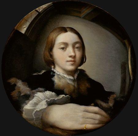 Viễn cận cong. Parmigianino, Tự hoạ (kh. 1524)