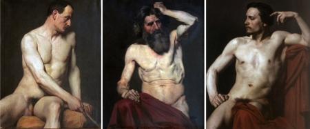 Bài vẽ mẫu khỏa thân bằng sơn dầu của học sinh trường Mỹ thuật Paris. Trái: Pierre-Auguste Cot (1865). Giữa: Pierre-Nicolas Maillot (1853). Phải: William-Adolphe Bouguereau (1850)