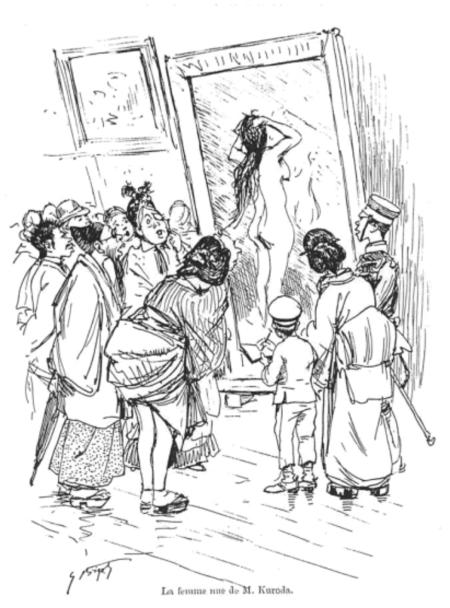 Biếm họa của Georges Bigot, La femme sue de M. Kuroda (Người đàn bà khỏa thân của ông Kuroda), in trong cuốn sách của Fernand Ganesco, Shocking au Japan: de l'évolution de l'art dans l'empire du solei levant: Dessins de Georges Bigot (1895), p. 33
