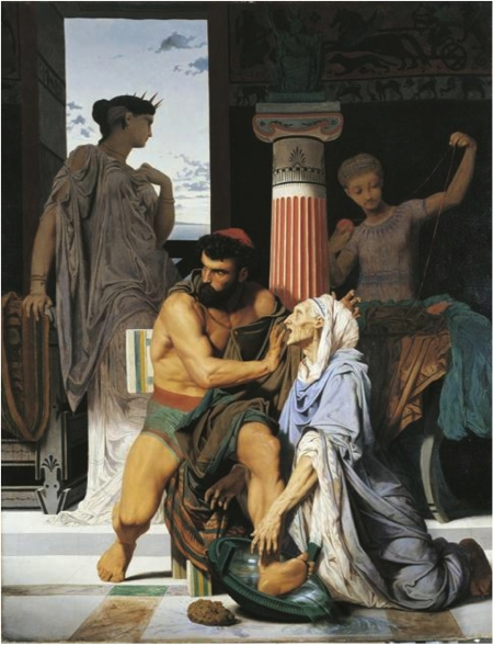 Gustave Boulanger, trò của Paul Delaroche và Pierre-Jules Jollivet Vú già Euryclée nhận ra Ulysse (Grand Prix de Rome 1849)
