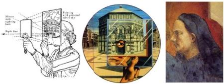 Brunelleschi (phải) và minh hoạ trình diễn luật viễn cận tuyến tính của ông.