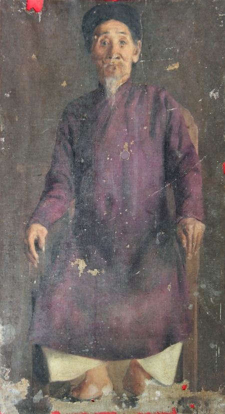 Lê Văn Miến Chân dung cụ Lê Hy (1895-1897) sơn dầu trên canvas, 43 x 23.5 cm. (Ảnh: Vũ Huy Thông)