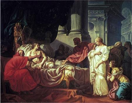 Jacques-Louis David (1748 – 1825), trò của François Boucher (Grand Prix de Rome 1720) Erasitsratus tìm ra nguyên nhân căn bệnh của Antiochus (1774)